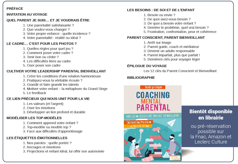 Coaching Parental - Parents + conscients, parents bienveillants - Sommaire